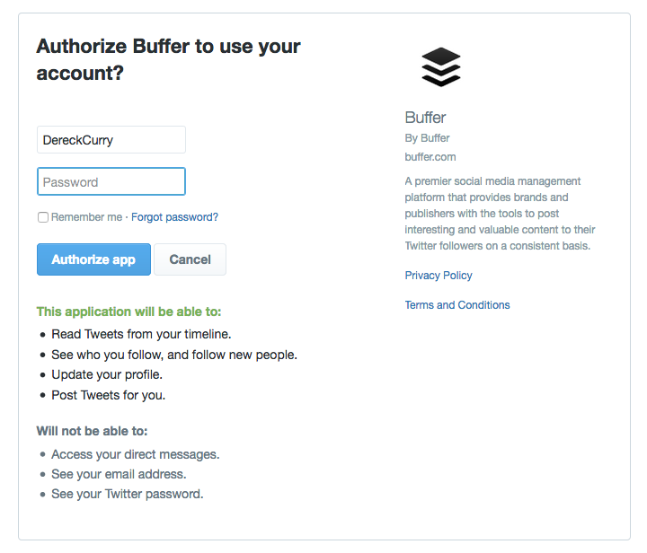Buffer screenshot: Authorize Buffer to use your account.
