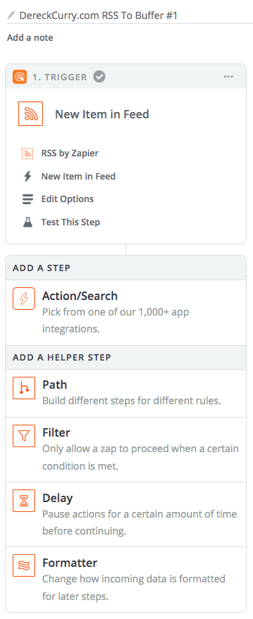Zapier screenshot: Add A Zap Step.