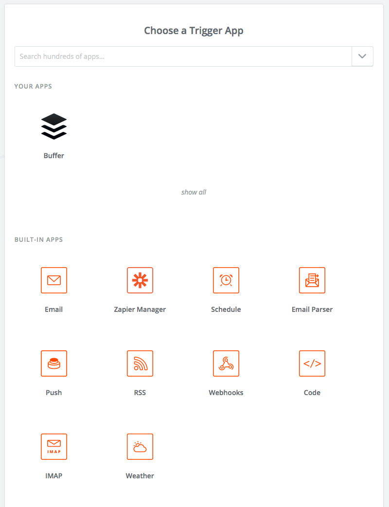 Zapier screenshot: Choose a trigger app.