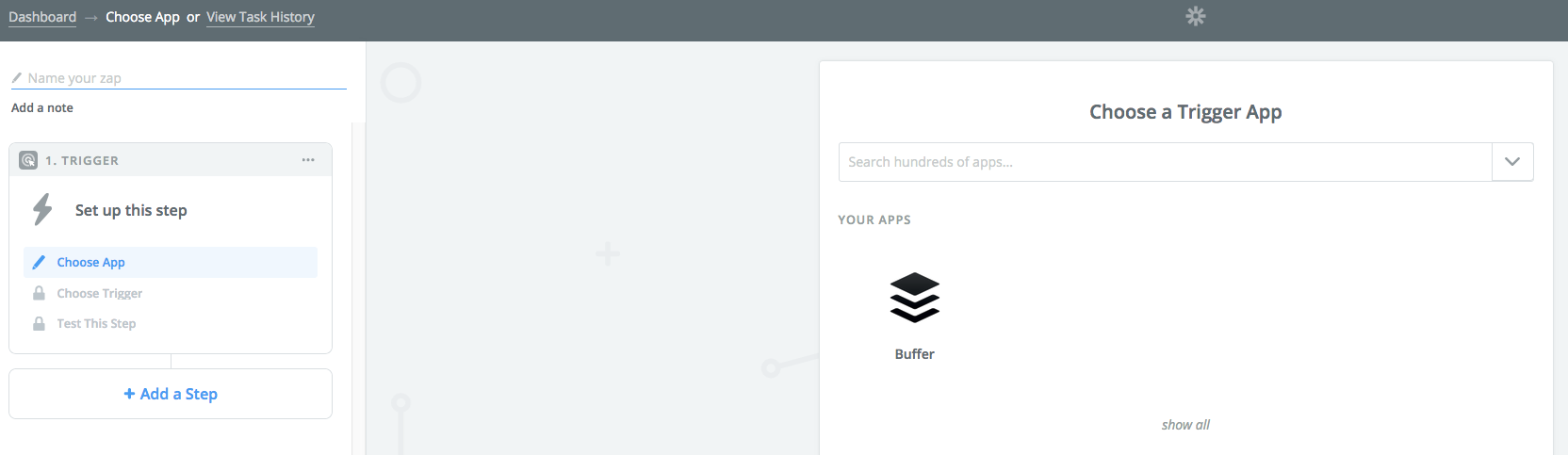 Zapier screenshot: Empty new Zap.