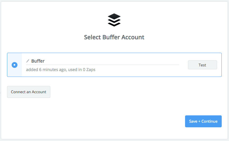 Zapier screenshot: Select Buffer Account.