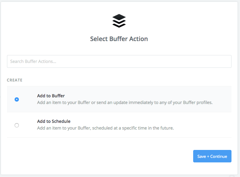 Zapier screenshot: Select Buffer Action with Add to Buffer selected.