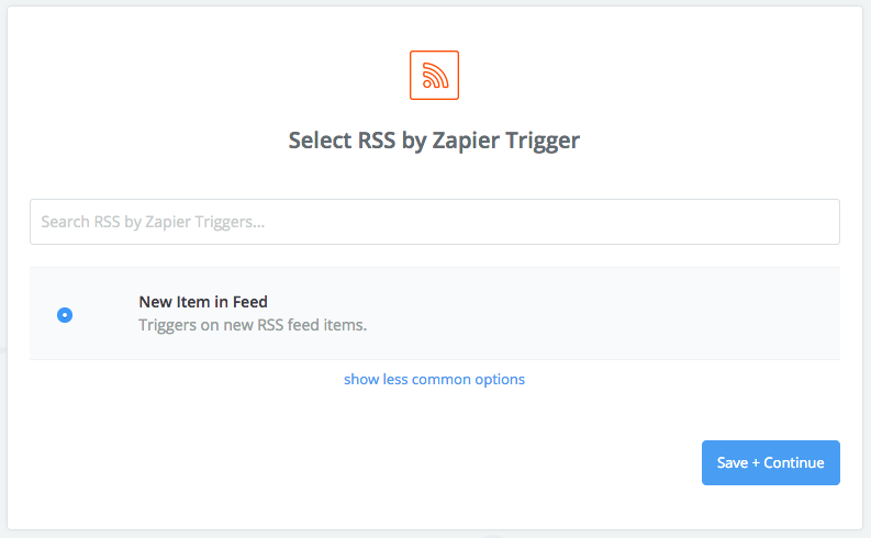 Zapier screenshot: Select RSS by Zapier trigger.
