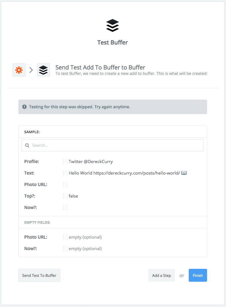 Zapier screenshot: Test Buffer with test skipped warning.